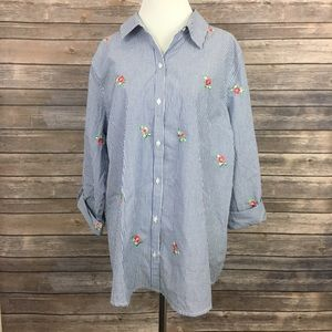 Charter Club Floral embroidered Button Down Shirt
